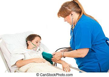 -, jongen, druk, ziekenhuis, bloed