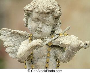 -, jouer, détail, peu, cimetière, violon, ange, décor, ...