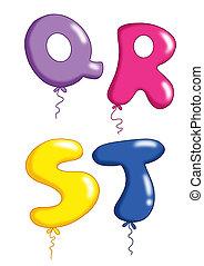 -, jouet alphabet, 5, ballons