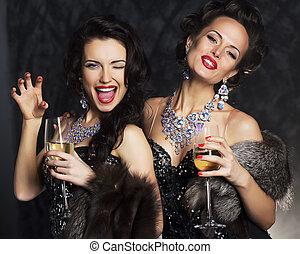 -, jovem, elegante, pretas, nightlife, champanhe, vestido,...