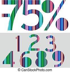 -, jubileum, illustratie, getallen