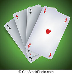 -, juego, ases, casino, póker