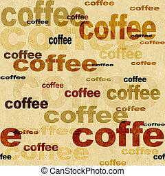 -, kávécserje, grunge, seamless, háttér
