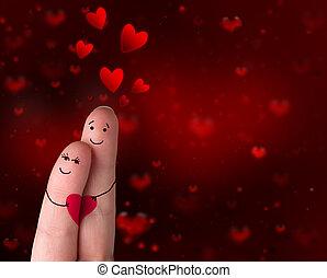 -, kärlek, fingrar, dag, valentinkort