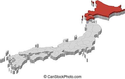 -, kaart, 3d-illustration, hokkaido, japan