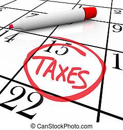 -, kalender, belasting, dag, omcirkelde