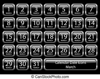 -, kalender, set, maart, pictogram