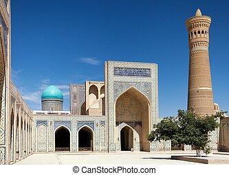 -, kalon, mezquita, bukhara, uzbekistán, minarete, vista