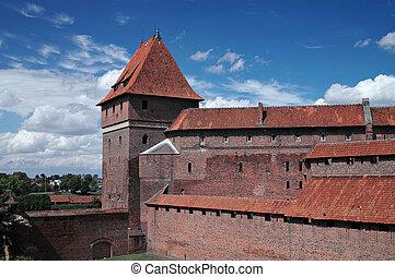 -, kasteel, oud, poland., malbork