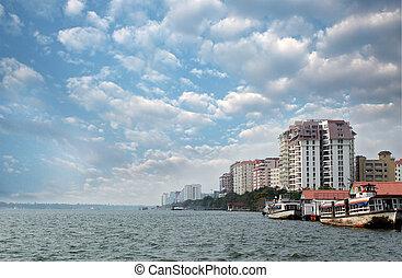 -, kerala, kochi's, skyline, wirtschaftlich, hauptstadt