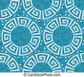 -, keramisk, mönster, tegelpanna, prydnad, geometrisk, blå, ...