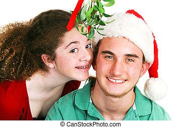 -, kerstmis, kus, maretak, tieners