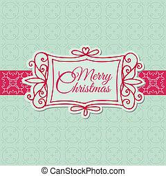 -, kerstmis, uitnodiging, vector, retro, plakboek, ontwerp, kaart, begroetenen