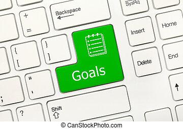 -, key), buts, clavier, conceptuel, blanc, (green