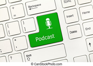-, key), clavier, conceptuel, blanc, podcast, (green