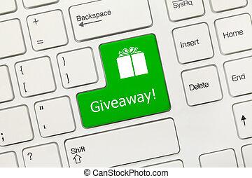 -, key), giveaway, tastiera, concettuale, bianco, (green