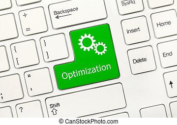 -, key), optimization, clavier, conceptuel, blanc, (green