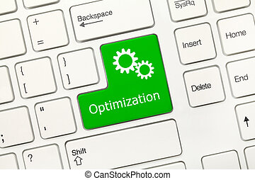 -, key), optimization, teclado, conceptual, blanco, (green