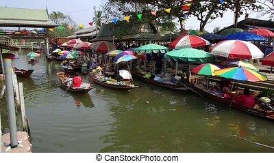 -, kha, marché, thaïlande, flotter, bangkok, tha