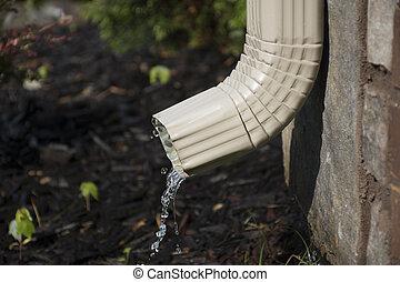 -, kilátás, downspout, lejtő, esővízcsatorna, víz