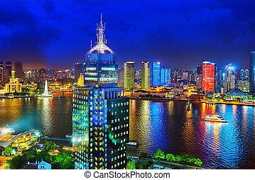 -, kilátás, gát, night., gyönyörű, shanghai, vagy, waitan, ...