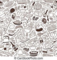 -, kochkunst, hintergrund, seamless
