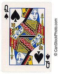 -, koningin, schoppen, speelkaart