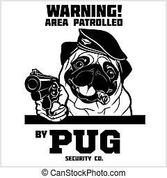 -, kopf, sicherheit, pug hund, gewehr, cigar.