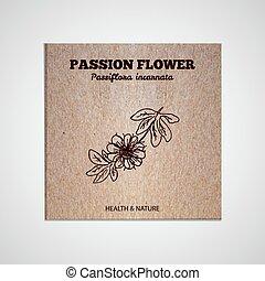 -, kryddor, kollektion, örtar, blomma, passion