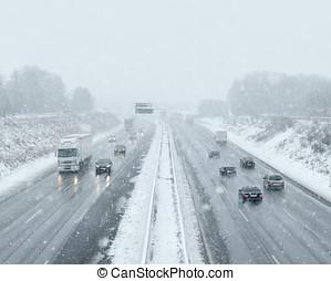 -, kupčit, zima, dojíždějící, hnací