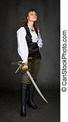-, kvinna, sabel, sjörövare, räcker