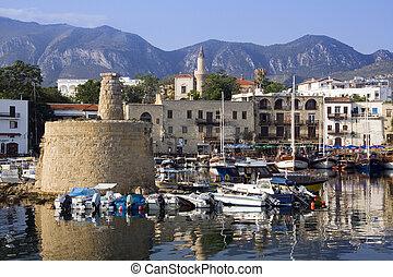 -, kyrenia, chipre, puerto, turco