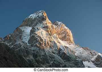 -, la plupart, beau, caucase, ushba, montagne, géorgie, sommet
