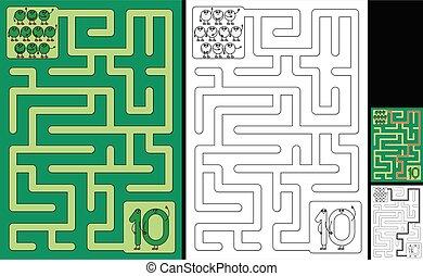-, labirinto, fácil, 10, número