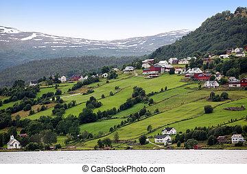 -, laghi, villaggio, hafslovatn, rurale, norvegia, hafslo