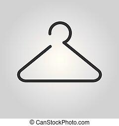 -, lakás, vektor, vállfa, ikon