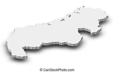 -, landkarte, 3d-illustration, mahajanga, (madagascar)