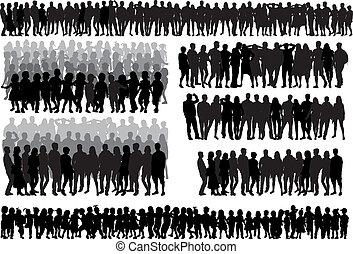 -large, groep, verzameling, mensen