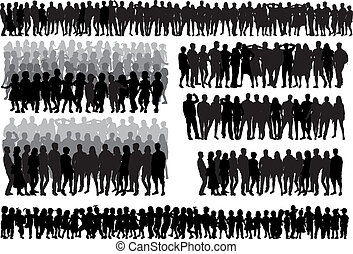-large, gruppe, sammlung, leute