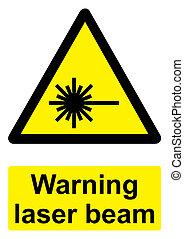 -, laser, avvertimento, sfondo nero, trave, isolato, segno, bianco, giallo