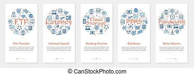 -, latency, ancho de banda, vector, internet, banderas, cinco, ftp