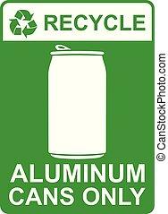 -, lattine, vettore, segno, riciclare, soltanto, alluminio