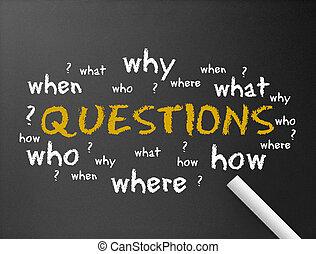 -, lavagna, domande