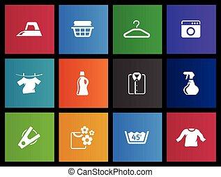 -, lavanderia, metro, ícones