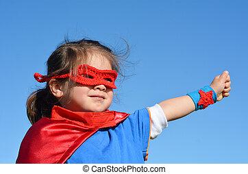 -, leány, gyermek, superhero, erő