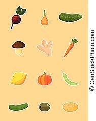 -, legumes, vetorial, jogo