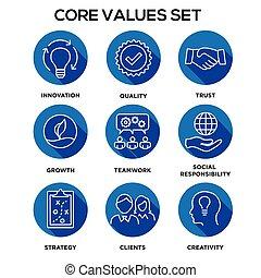 -, leidenschaft, kern, oder, rechtschaffenheit, vision, werte, ehrlichkeit, mission, zusammenarbeit, wert, ziel, satz, ikone, fokus