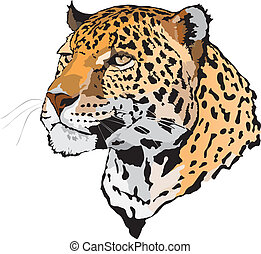 -, leopard, illustration, block