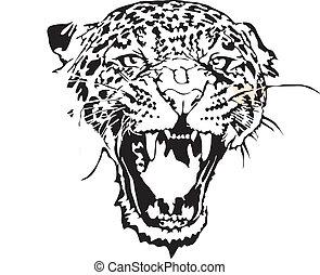 -, leopardo, illustrazione, casato