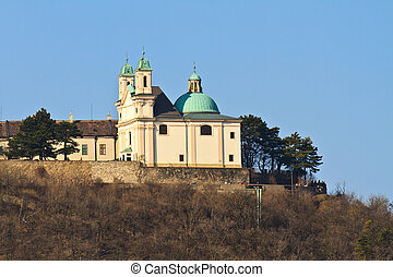 -, leopoldsberg, áustria, igreja, montanha, viena